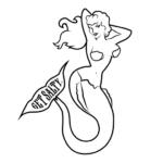 """Large Mermaid 12"""" Decal - Wholesale - Black"""